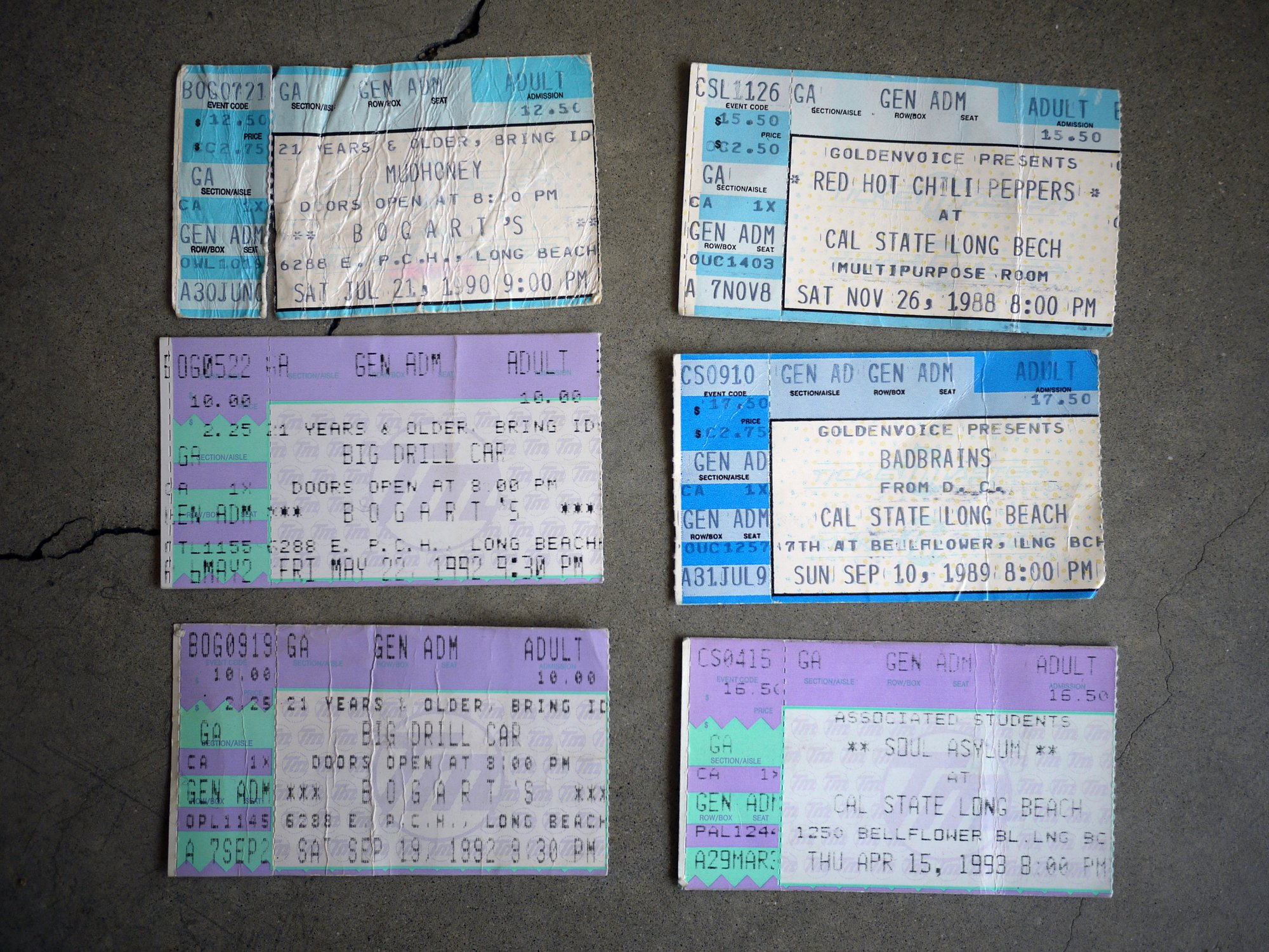 Bogart's and CSULB tickets (1988-1993)